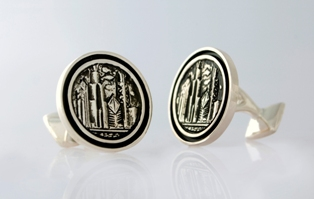 Chicago Skyline Rimmed Cufflink low_res
